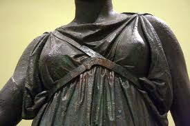 An interesting place to look for bra history is in art - this bronze statue of the Greek goddess Artemis is from the mid-4th century B.C.