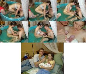 All in a day's work! This alternative birth position allowed the father to be an integral part of the birth experience.