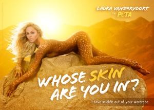 Laura Vandervoort's Sexy Bodypainted PETA Ad