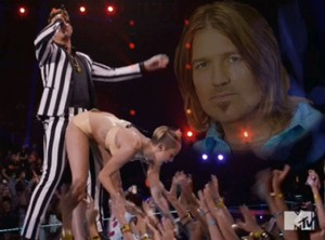 Miley just destroying Billy Ray's achey-breaky heart!