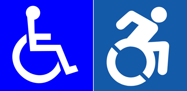 two icons representing wheelchair users (the left shows the classic symbol, seen on most wheelchair parking spaces today, and the right image is a nice icon representing a wheelchair athlete propelling themselves forward with their arms)
