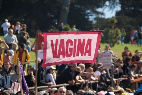"red and white flag that reads ""Vagina"""