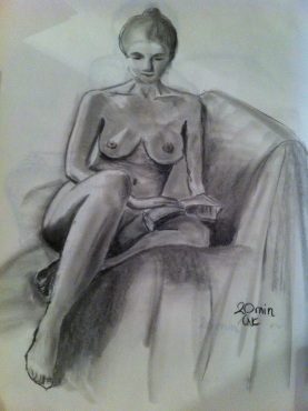 black and white sketch of naked woman