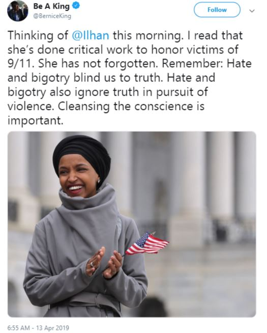 bernice king, ilhan omar support