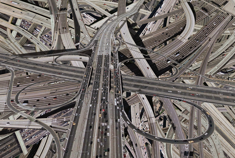 A complex layering of multi lane highways.
