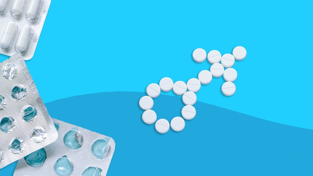 Birth control pills shaped as the male symbol.
