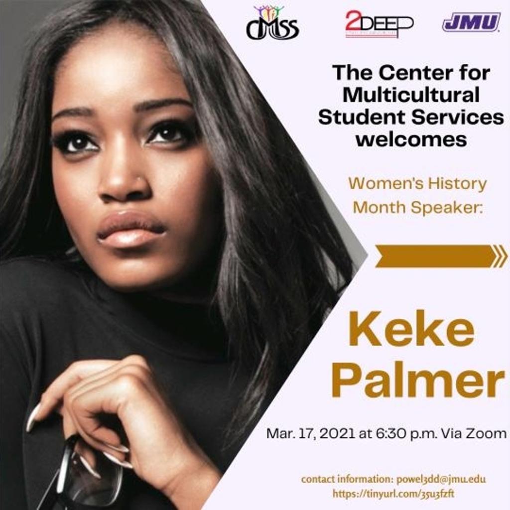 Keke Palmer pictured and announced as JMU's Women's History Speaker.
