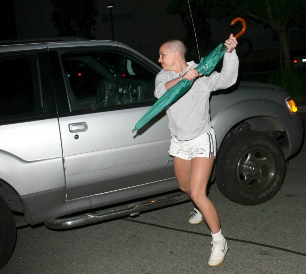 Britney Spears attacking a car with an umbrella from 2007